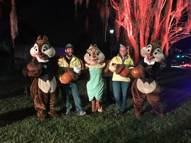 Katie and Spencer take advantage of a Photo Opportunity with Chip, Dale, and Clarice before the Half Marathon Runners arrive!