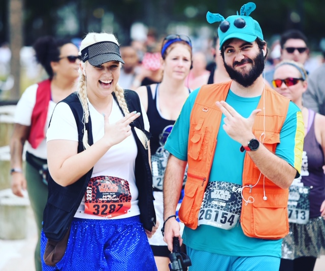 Spencer and Katie goof off at the Star Wars Half Marathon.