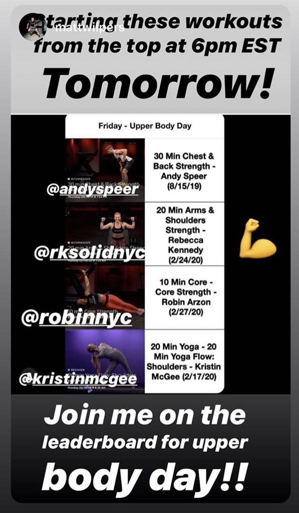A screenshot from Matt Wilpers Instagram showing his workout schedule.