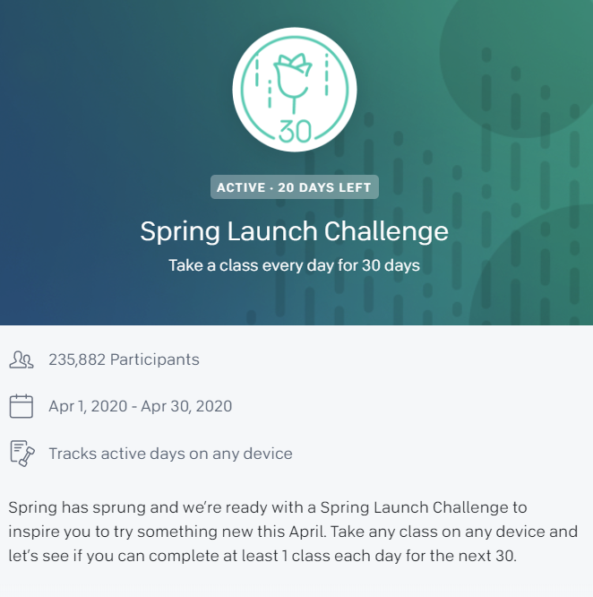 A screenshot from the Peloton website should the Spring Launch Challenge with a text description of the challenge.